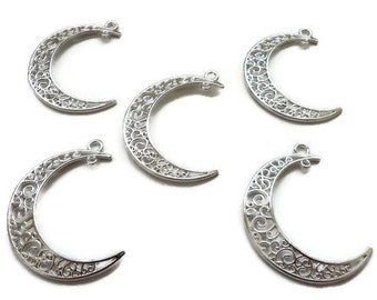 6 pcs Bright Silver Tone Half Moon Charms 40*35mm Pendants DIY for Jewelry Making