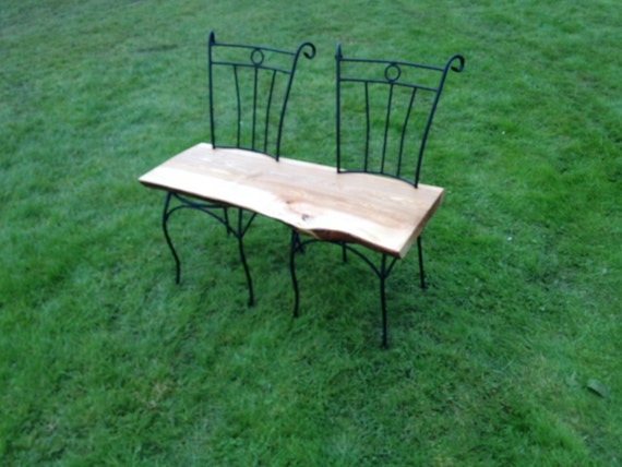 Hand crafted iron and ash upcycled house or garden bench for Outdoor furniture mackay