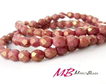 4mm Luster Coral Picasso Faceted Glass Beads, Pink Coral Czech Fire Polished 4mm