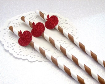 12 Apple Straws, Back to School, Back to School Party,Apple of Our Eye Birthday Decor, Fall Birthday Decor, Fall Birthday, Apple Bobbing