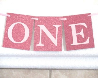 Pink High Chair Banner ONE Banner Pink Glitter Highchair Banner High Chair Banner Girl First Birthday Decoration Girl First Photo Prop