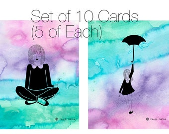 Girl with Umbrella & Girl with Flower Blank Card Set