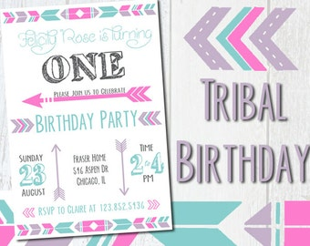 Tribal Birthday Invitation -  Fully customizable!