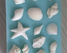 seashell silicone mold - 14 cavities