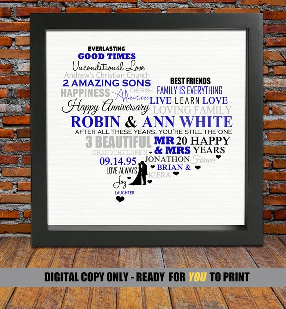 20 Years Wedding Anniversary Gift: Personalized 20th Anniversary Gift 20 Years Wedding