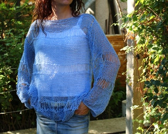 New Hand Knitted Blouse in Blue,Handmade Sweater