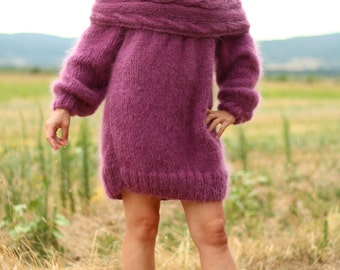 New Hand Knitted Mohair 70% Sexy Long Sweater,Rose,Handmade Dress,S-M-L