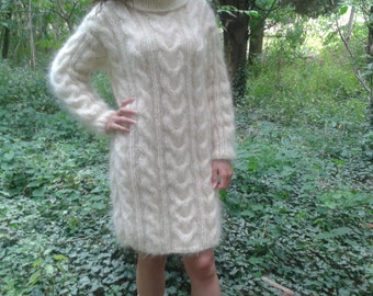 New Hand Knitted Mohair 70% Sexy Long Sweater,Ivory,Handmade Dress,S-M-L