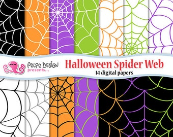 Halloween Spiderweb Digital Paper. Scrapbook Backgrounds. Commercial & Personal Use. Instant Download. Spider web green, purple and orange.