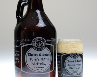 Custom Birthday HomeBrew Growler and Glass set with Signatures Cheers and Beers art. Homebrew, Beer, Beer Gift, , Beer Glass, Beer Tools