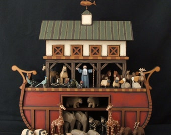 Hand carved Wood Noah's Ark