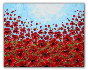 Poppy artwork, Giclee print of Original painting, Poppy field, Red floral art, Poppies art print, Red flowers 8x10, Modern Poppies wall art