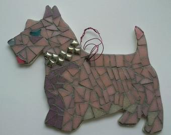 Mosaic Scottie Dog home decor wall hanging
