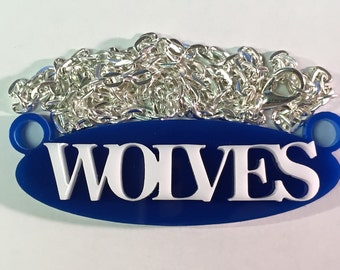 Wolves School Spirit Mascot Necklace with Silver Plated Chain and Choice of Colors