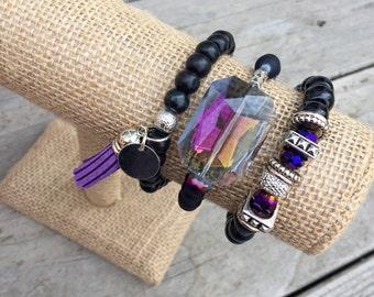 Black & Purple Bracelet Trio