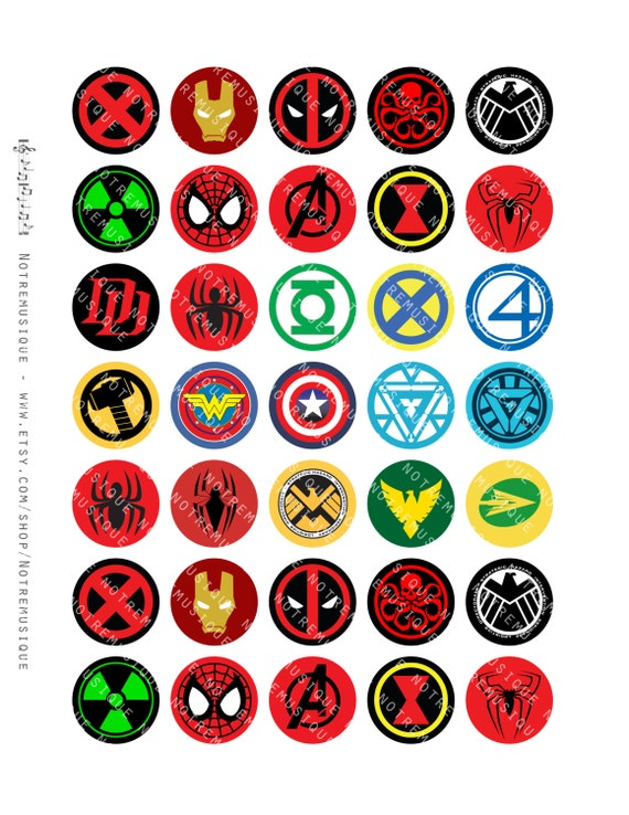 superheroes logos digital sheet 30mm circles us letter printables pendants magnets circles. Black Bedroom Furniture Sets. Home Design Ideas