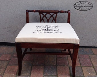French Stamp Upholstered Vanity Bench