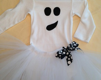 Baby or Toddler Ghost Costume with body suit/t-shirt, tutu and hairbow