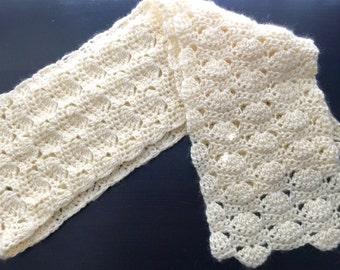 Crochet winter scarf, White crochet scarf, Wool crochet long scarf.