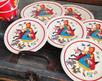 Nine Piece Red Rding Hood Tin Tea Set