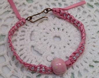 Sale! Polka Dot Bangle Bracelet, Pink Bangle Bracelet, Vintage Brass Bracelet, Handmade Bangle Jewellery