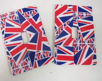 2 light switch covers, Union Flag design