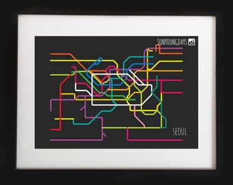 seoul metro line map 4'X6'