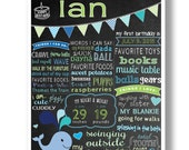 Boy Chalkboard First Birthday Whale Themed Poster, One Year Birthday, Custom Chalkboard Sign, Whale Bday, PRINTABLE, DIGITAL, Whale Decor
