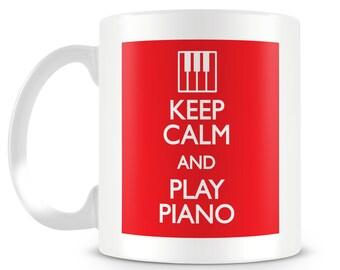 KEEP CALM and play piano. Funny mug design. Novelty mug. Personalised gift