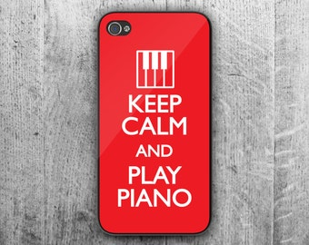 Keep Calm and play PIANO phone case. Case For - iPhone 4/4S - iPhone 5/5S - iPhone 5C - iPhone 6 - iPhone 6 Plus. Novelty. Gift.