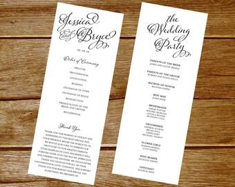 Custom Printable Double-Sided Wedding Program Digital File
