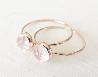 Rose Quartz Ring, Rose Gold Ring, Pink Rose Cut Gold Ring, Quartz Ring, Soft Rose Gold Ring, Unique Quartz Pink Ring, Made To Order