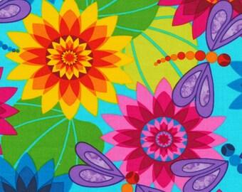 Dragonflies and Flowers on Aqua,             Calypso,    Fabri-Quilt #120-4202