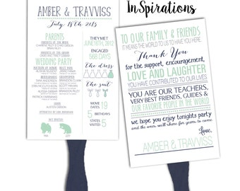 SALE!! Personalized DIGITAL File: Wedding Program Fan. Thank you, The Dress, The Suit and Wedding party deatils