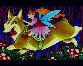 Children's Wall Art Fantasy Art Fairy riding a Corgi Fine Art Print 8x10