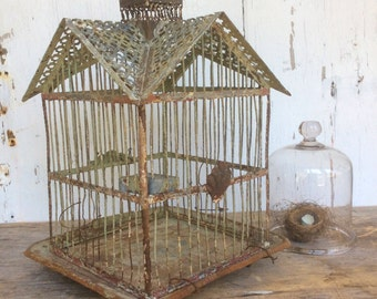 Vintage Hendryx metal birdcage in original paint with unusual gabled roof
