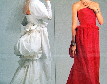 VOGUE 1801 SASSOON Size 12 Steampunk Bustle Ruched Bridal Gown Sewing Pattern ~ Vintage ©1986 Uncut