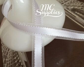"5 yards 5/8"" satin/sheer ribbon,ribbon,embellishment,stitched ribbon,card making,scrapbooking,home decor,floral arrangements,hair bow,163"