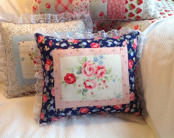 Cottage Chic Throw Pillow, Lacy Blue Pillow, Rose Nursery, Girl's Room, Navy Blue and Pink Pillow, Ready to Ship
