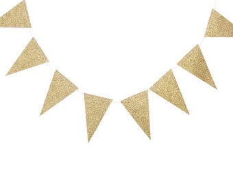 Gold Glitter Wedding Garland | Large Pennant Banner | Gold Glitter Pennant | Triangle Banner | Birthday Party Banner | Baby Shower Bunting