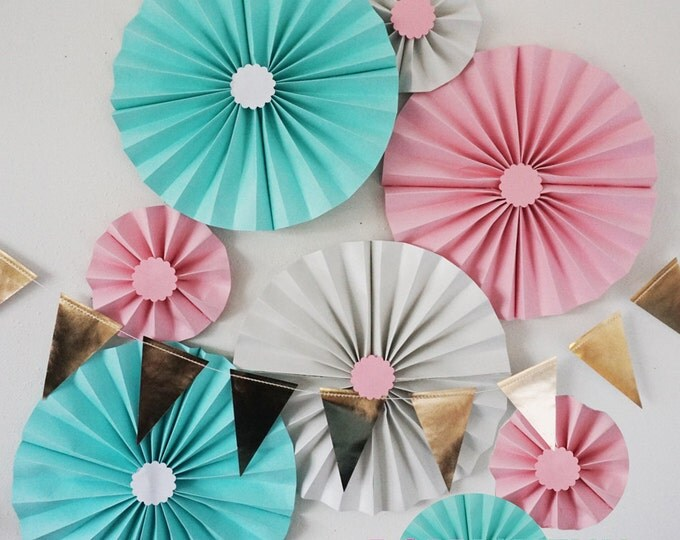 Light Blue, Baby Pink, and Shimmery White Party Fans | Pom Wheel | Nursery | Paper Medallions | Baby Shower | Birthdays | Paper Rosettes