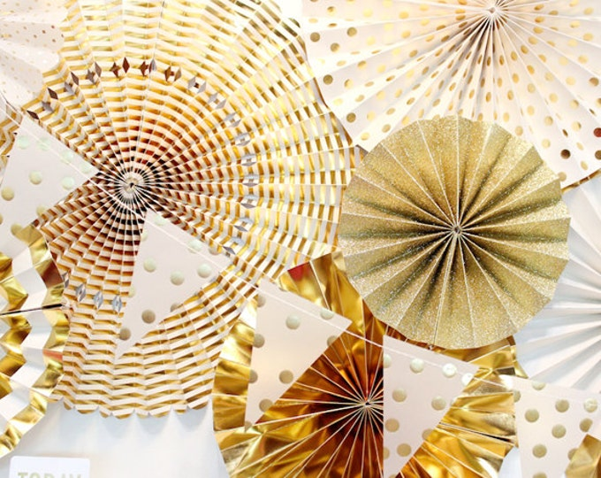 Gold rosettes, Holiday decor, Fans, Paper Pom Wheel, New Year Rosettes, Paper Medallions, Ivory Gold Foil Paper Fans, Gold Pinwheel FYP108
