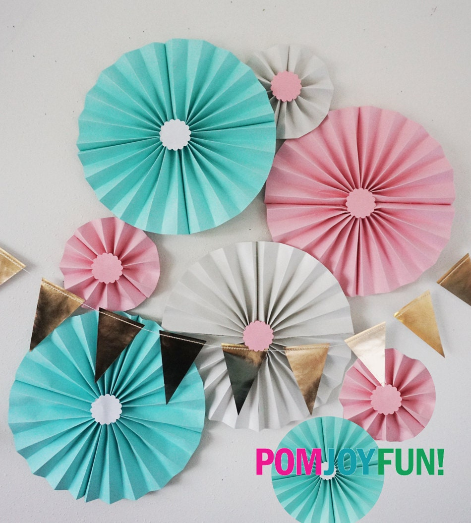 Light Blue Baby Pink And Shimmery White Party Fans Pom