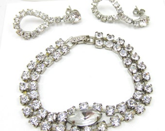 Silver Tone Rhinestone Bracelet and Earring Set Double Row Clasp Dangle Post Earrings Runway High End Vintage Bridal Costume Jewelry