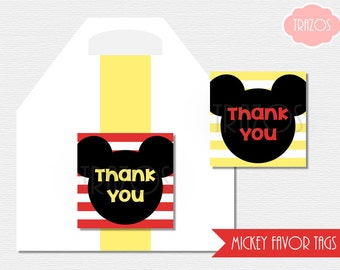 Mickey Favor Tags - Printable Favor Tags (INSTANT DOWNLOAD)