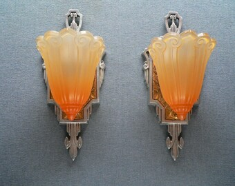 Pair of antique Lincoln slip shade sconces