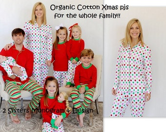 Organic Adult Christmas Pajamas Monogrammed included!!