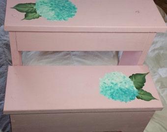 Hand Painted Hydrangea Step Stool Bench