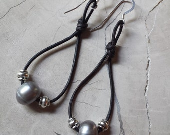 Silver Grey Pearl and Black Leather Earrings