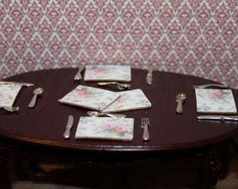DOLLHOUSE MINIATURE Peonies Placemats X 6